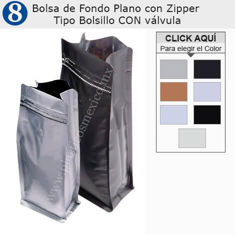 Bolsa de Fondo Plano con Zipper Tipo Bolsillo & Válvula