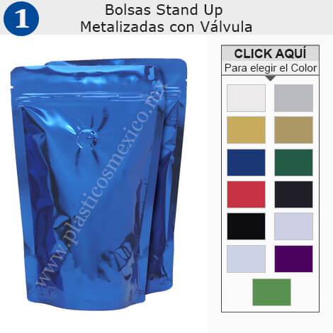 Bolsas Stand Up Metalizada con Zipper & Válvula