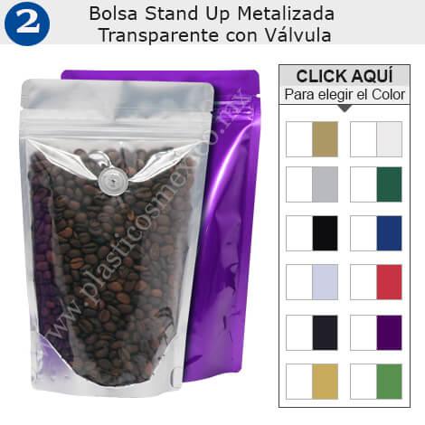Transparente Metalizado Bolsa Stand Up con Válvula