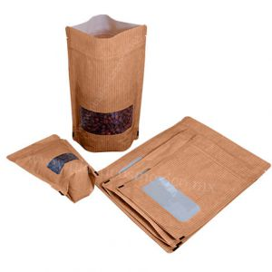 Kraft Look Rectangle Window SUP Pouch With Zipper